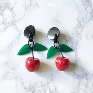 Vintage • cherry clip on earrings